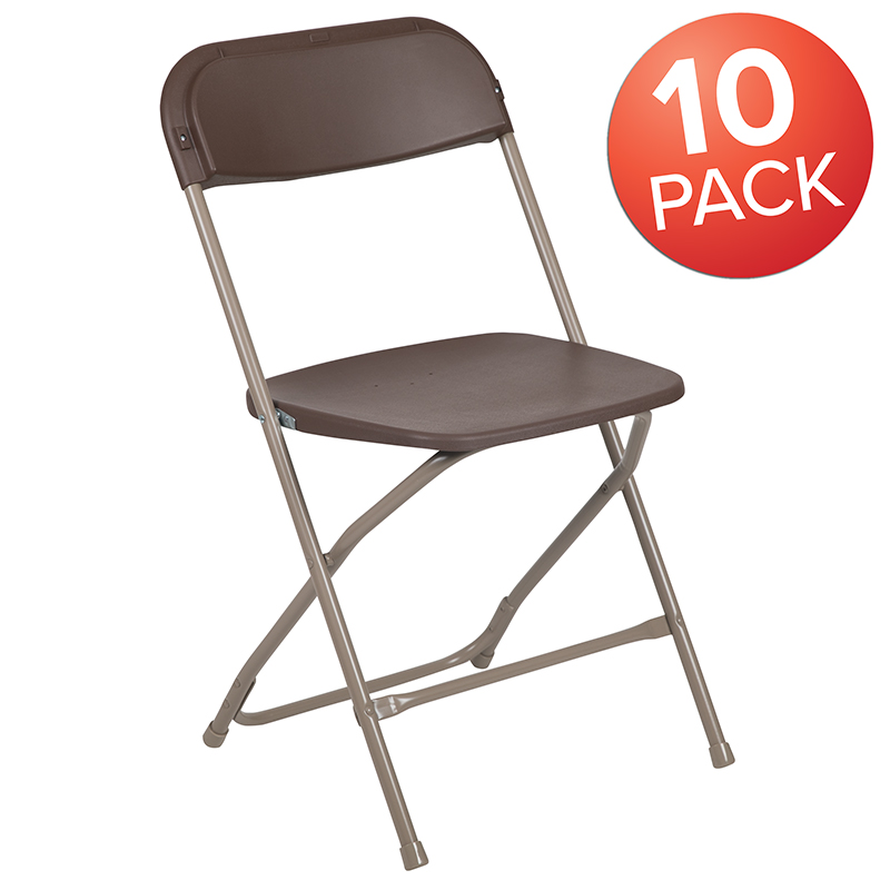 10 pack 650 lb. rated brown plastic folding chair - commercial & event chairs